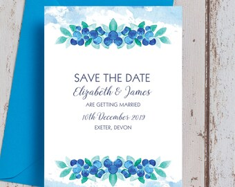 Personalised Watercolour Blueberries Wedding Save the Date cards
