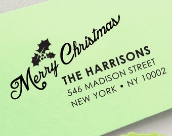 HOLIDAY ADDRESS STAMP, personalized pre inked address stamp, pre inked custom address stamp, return address stamp with proof - Stamp c6-6