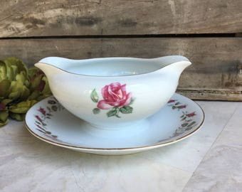 Moss Rose Diamond Gravy Boat w/ Attached Underplate Vintage China Pink & White Double Spout ~ #F5042