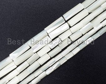 High Quality White Mother of Pearl, Mop Shell, White Shell, Cylinder/Tube Smooth Beads, 3x5mm/4x8mm/4x13mm, 15inch strand, sku#T34
