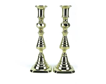 Antique Pair English Brass Push Up Candlestick Candleholders - 1800's England Gold Spindle Candle Holders Wedding Decor - Octagon Base