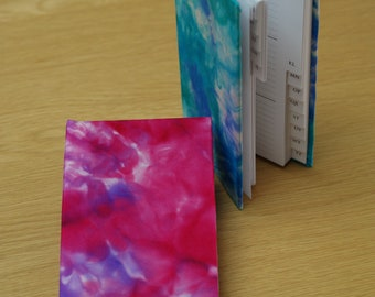Address Book Covered in Magenta and Purple Hand Painted Silk
