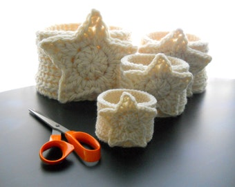 CROCHET PATTERN: The Star Four Nesting Baskets, Crochet Pattern for Gift Baskets, Nesting Basket Pattern