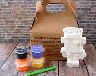 DIY Robot Paint Kit Kids Craft Kit Paint Your Own Robot UNISEX ART Gift