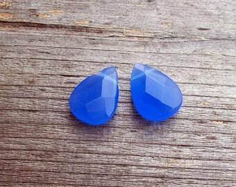 Blue Opaque Czech Glass Briolettes- 18mm (2)