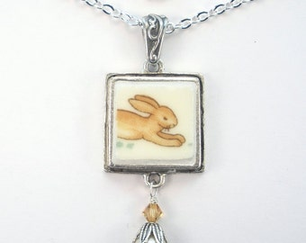 Broken China Jewelry, Bunnykins Bunny Rabbit Pendant Necklace Vintage Charm Royal Doulton Porcelain Design by Charmedware