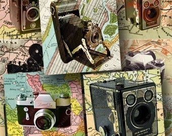 Vintage Cameras and Maps digital collage sheet in 2 inch squares -- 705