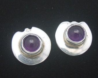 February Birthstone Earrings Vintage Amethyst Sterling Silver Minimal Dainty Jewelry, Gift for Mom Sister Girlfriend