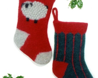 Felted christmas stocking instant download knitting pattern fiber trends knitting pattern 204x felted christmas stockings instructions to make 2 styles stripes dt1010fo