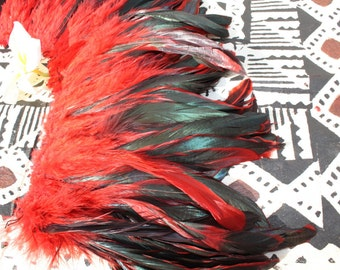 Coque feathers- 7-10 inch length-color red/bronze-rooster tail feathers, Tahitian dance costume, mens, boys