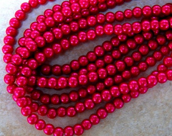 6mm Deep Pink Glass Pearls, 100 PC (INDOC164)