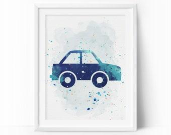 Car Prints, Car Nursery Art, Transportation wall art, Boys Nursery Printable, Watercolor Art, Navy Blue, Mint Nursery Art, Instant Download