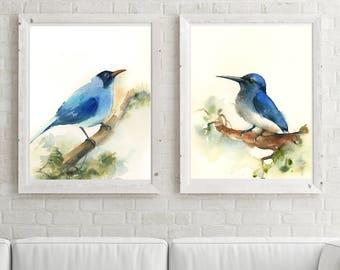 Blue Bird prints Set, set of 2 fine art prints, bird print, bird watercolor painting art, wall art