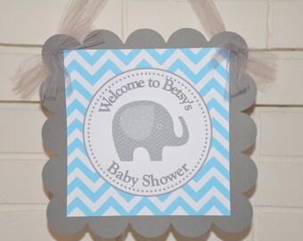 Elephant door sign, Elephant baby shower, elephant