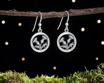 Sterling Silver Scottish Thistle Earrings - Double Sided