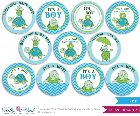 Boy Turtle Cupcake Toppers For Baby Shower Printable Diy