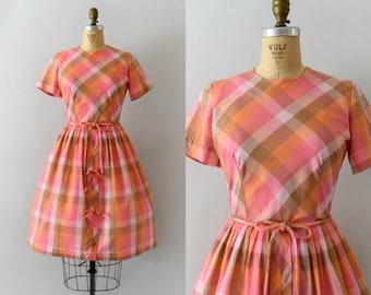 Vintage 1950s Dress - 50s Orange & Pink Check Dress with Belt