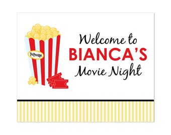50% Off Sale! - PRINTABLE Movie Night Party Welcome Sign
