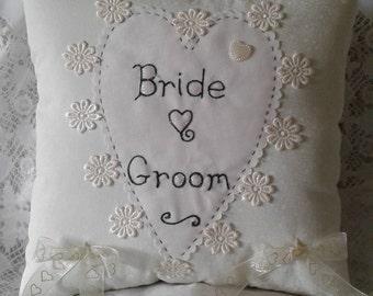 Bride & Groom ring cushion