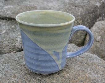 Cricket Sonata Ceramics: Medium Blue and Yellow Mug, Wheel Thrown, Handmade