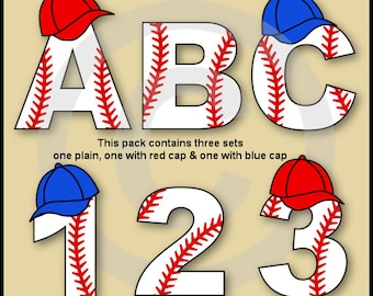 Baseball Alphabet Letters & Numbers Clip Art Graphics