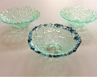 """Shatterglass Fused Glass bowl Upcycled Recycled Tempered Glass  6"""" diameter x 2"""" deep"""