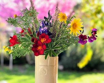 Ceramic Flower Vase, Ceramic Flower Pot, Cream Pottery Vase, Modern Ceramic Vase, Ceramic Utensil, Pottery Gift, Ceramic utensil jar