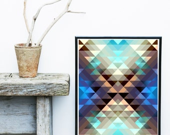 Geometric Wall Art, Triangle Print, Scandinavian Art, Geometric print,  Abstract Art Print, Giclee print, Wall Art, Wall Decor