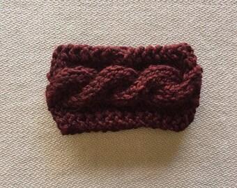 Cable knit earwarmer headband - chunky knit maroon wine