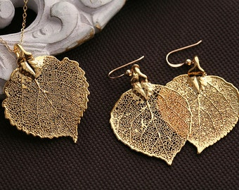 Real Aspen leaf jewelry set,Fall Autumn Wedding jewelry,Baby aspen leaf,Gold filled,mothers gift,birthday,bridesmaid gift,real leaf earrings