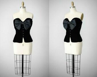 black velvet bustier | black bustier | sweetheart neckline | large bow