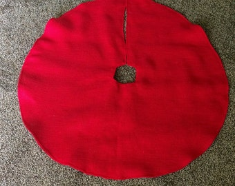 "40"" Red Burlap Christmas Tree Skirt--Barn Red Burlap--4 Burlap Colors Available-Rustic/Folk/Country-Minimalist-Chic-Simple"