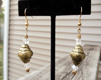 Handmade czech glass and Vintage bead earrings