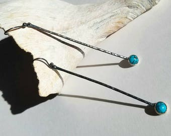 Unique long sterling silver turquoise stick dangle earrings