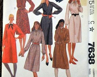 Vintage 80's Sewing McCall's 7638 Misses' Dress Size 16-20 Bust 38-42 Plus Size Complete Uncut