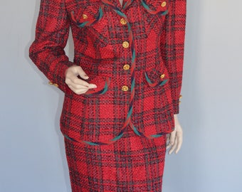 Vintage Expensive Over Six Hundred Chanel Style Classic George Simonton Red Boucle Plaid I Magnin Skirt Jacket Suit Classy