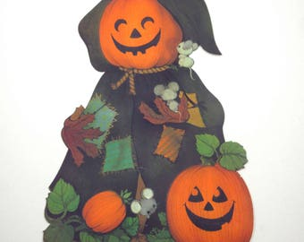 Vintage Grinning Jack O Lanterns and Mice Halloween Die Cut Decoration