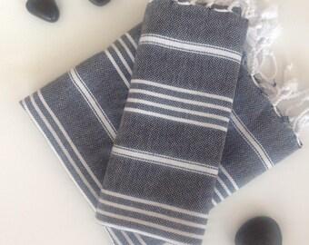 Set of  2 Turkish Ecofriendly Hand Towel (Peshkir), Organic, Tea Towel, Kitchen,  Soft Head Towel, black, bathroom decor, Father's Day Gift