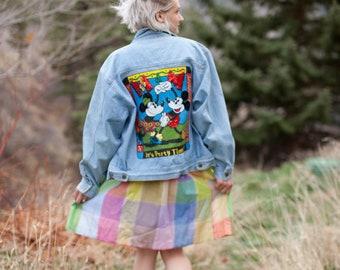 90s Oversized Mickey Denim Jacket // Disney Denim Jacket // Mickey Mouse Minnie Mouse // Patches & Sequins // 90s Disney // Oversized Denim