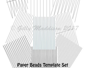 Paper Bead Templates Set of Nine - Instant Download