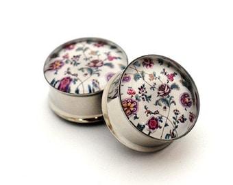 Vintage Floral Design Picture Plugs gauges - 16g, 14g, 12g, 10g, 8g, 6g, 4g, 2g, 0g, 00g, 1/2, 9/16, 5/8, 3/4, 7/8, 1 inch