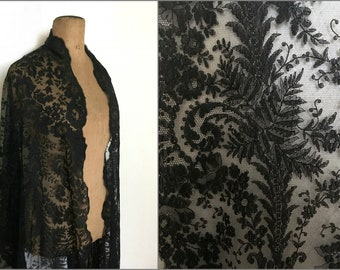 Reserved for A. Black silk lace Spanish mantilla stole
