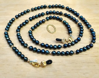 "EY1400 Spectacle Necklace/Lanyard, 29-1/2"", w/14k GF spacers, Midnight Blue Freshwater Pearls"