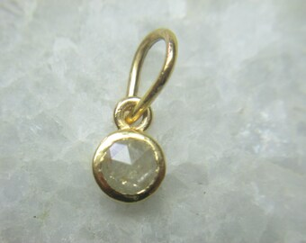 Gray Rose Cut Diamond Charm Pendant in 14k Solid Gold, Natural Rose Cut Diamond Charm Pendant