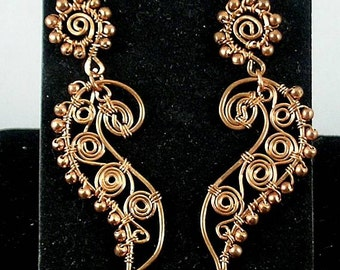 Copper Paisley Spiral Wire Wrapped Stud Earrings