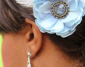 blue silk flower with vintage style blue crystal piece and antiqued feathers, Helen of Troy