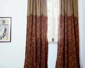"Bohemian curtains SAMPLE SALE brown window curtains Block printed bedroom curtain home decor housewares - ONE Panel - 44""w x 84""L - Mehal"