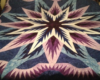Queen Size Feathered Star Quilt Top