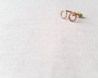 Tiny Gold Fill Circle Post Earrings - Handmade Little 14k Gold Fill Hammered Mini Circle Hoop Studs Simple Minimalist Gift for Her