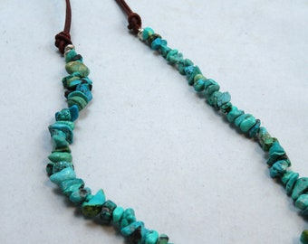 Turquoise Nugget and Leather Beaded Necklace